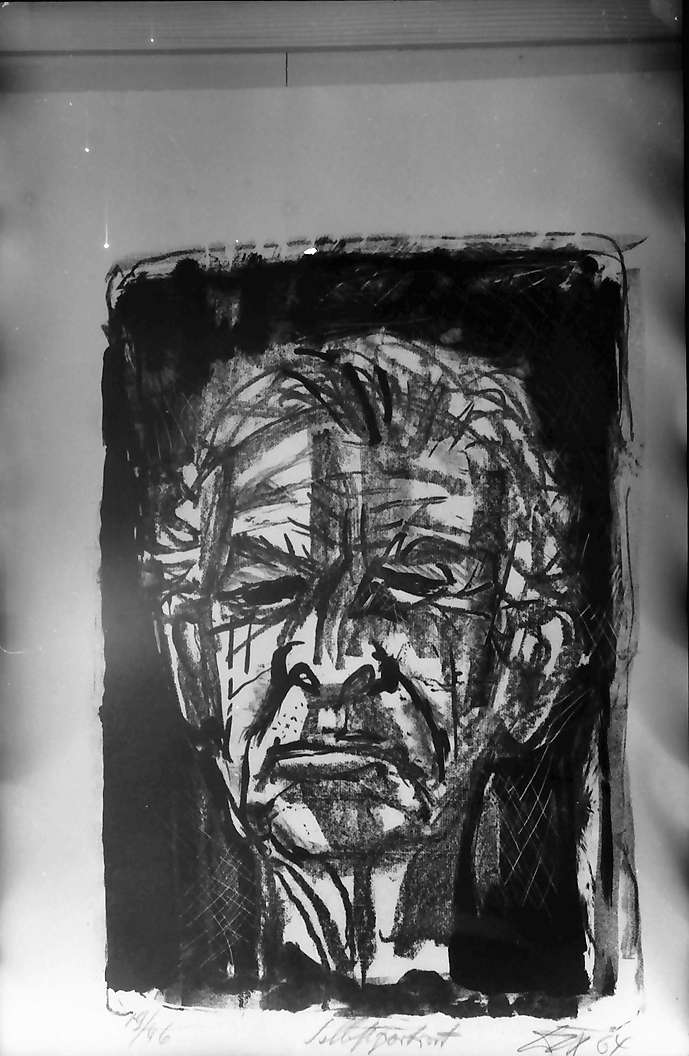 Bernau: Selbstporträt; Otto Dix (Kohle) 1964, Bild 1