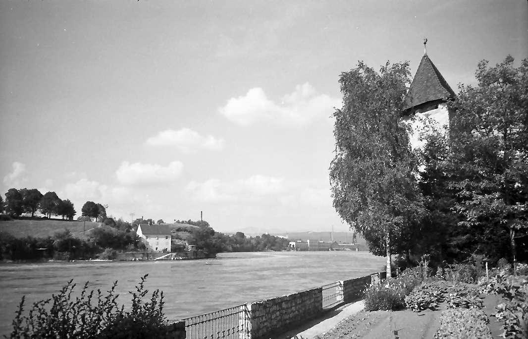 Rheinfelden: Rheinufer mit altem Wehrturm, Bild 1