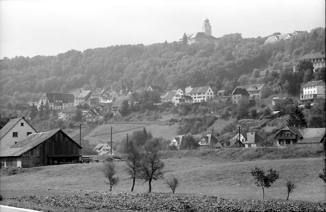 Stühlingen: Blick von der neuen Straße auf Stadt und Schloss, Bild 1
