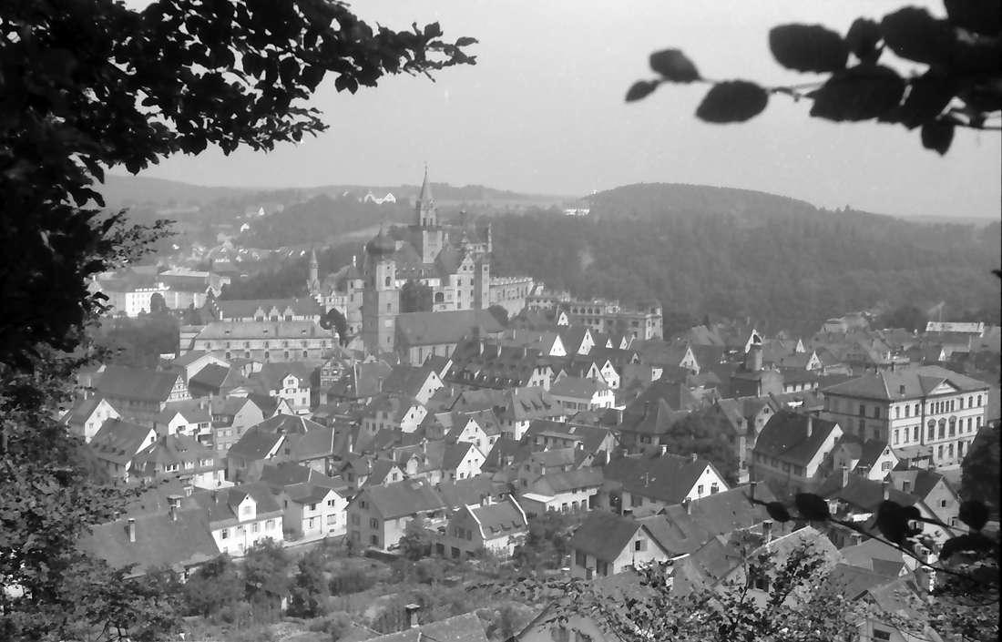 Sigmaringen: Gesamtansicht mit Schloss, vom Felsen, Bild 1