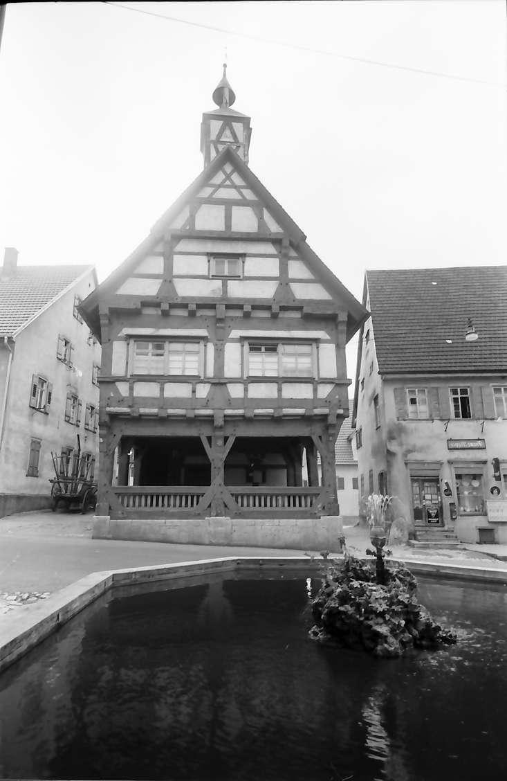 Mühlheim (Donau): Rathaus, Vordergrund Brunnen, Bild 1