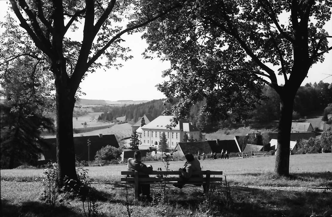 Löffingen: Bank im Kurpark, Hintergrund Stadt, Bild 1