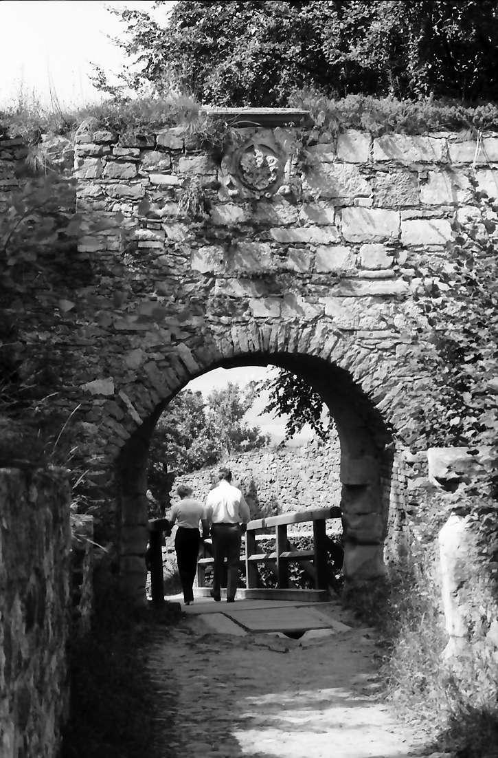 Singen: Hohentwiel, Wappenrelief über dem oberen Tor [Gesamtsicht des Tors], Bild 1