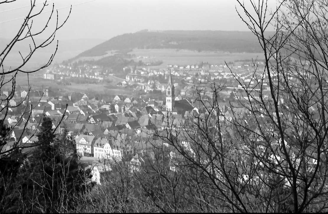Tuttlingen: Blick auf die Stadt mit Kirche, Bild 1