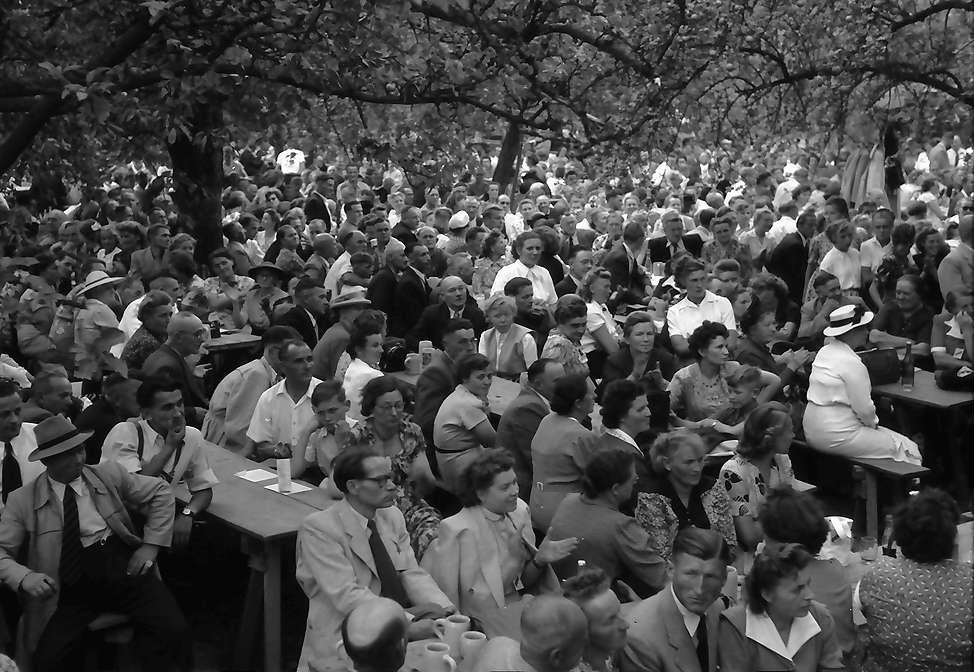 Ebringen: Heimattag der Vertriebenen, Publikum hinter Bäumen, Bild 1