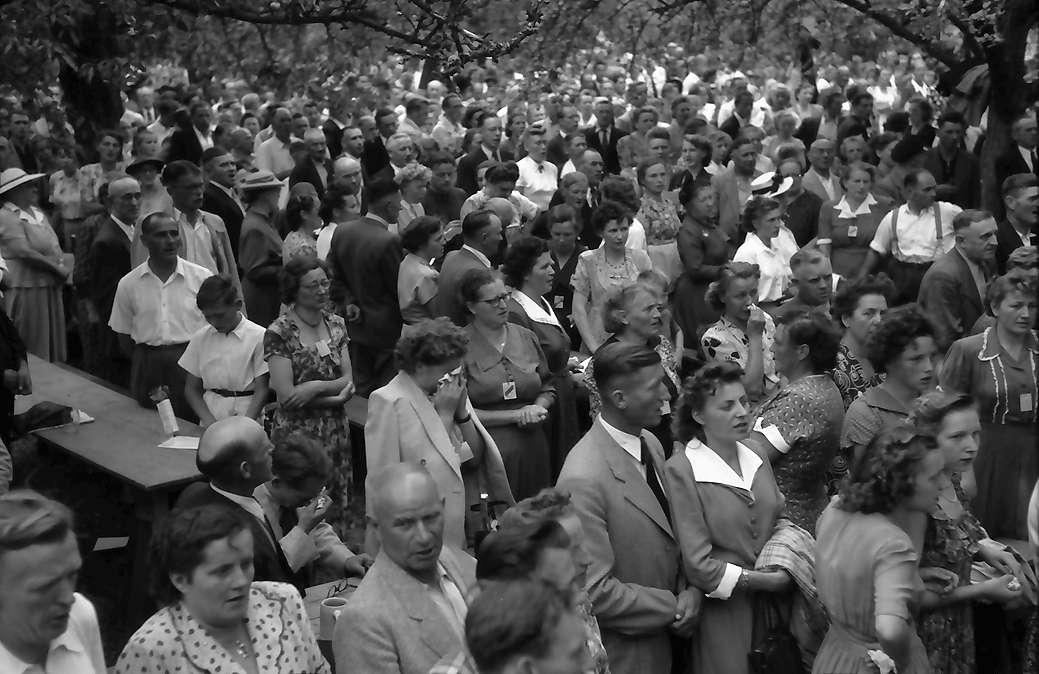 Ebringen: Heimattag der Vertriebenen, Publikum hinter Bäumen, singt Deutschlandlied, Bild 1