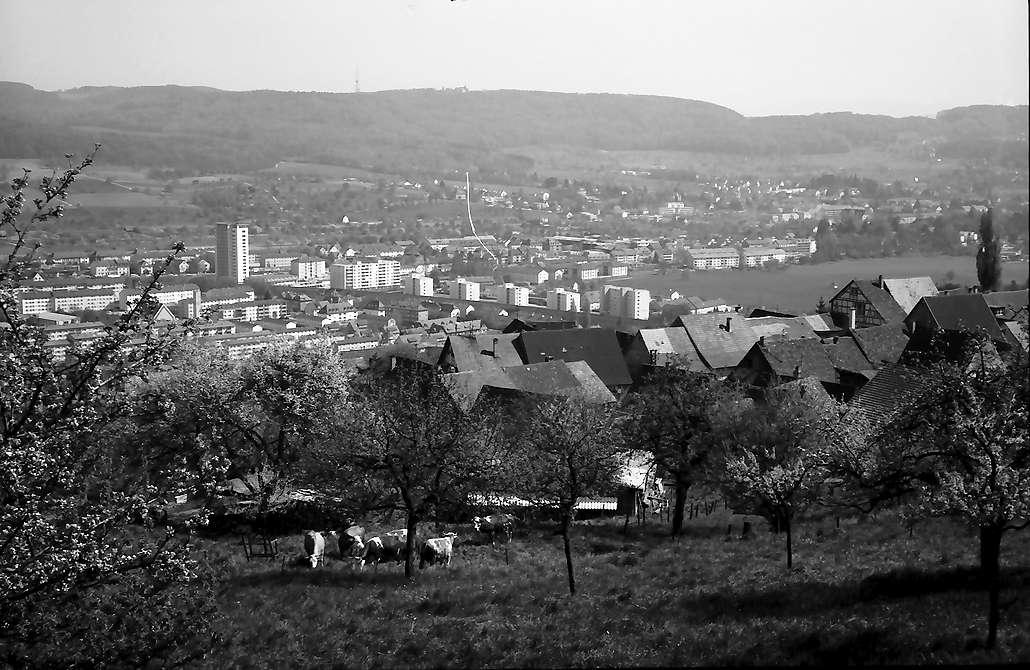 Lörrach, Tüllingen: Von Tüllingen (alte Dächer) auf Stetten und Grenze, Bild 1