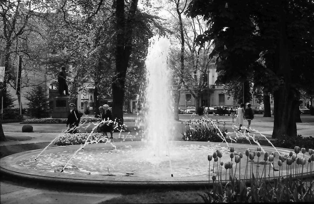 Lörrach, Tüllingen: Springbrunnen, Hintergrund Hebeldenkmal, Bild 1
