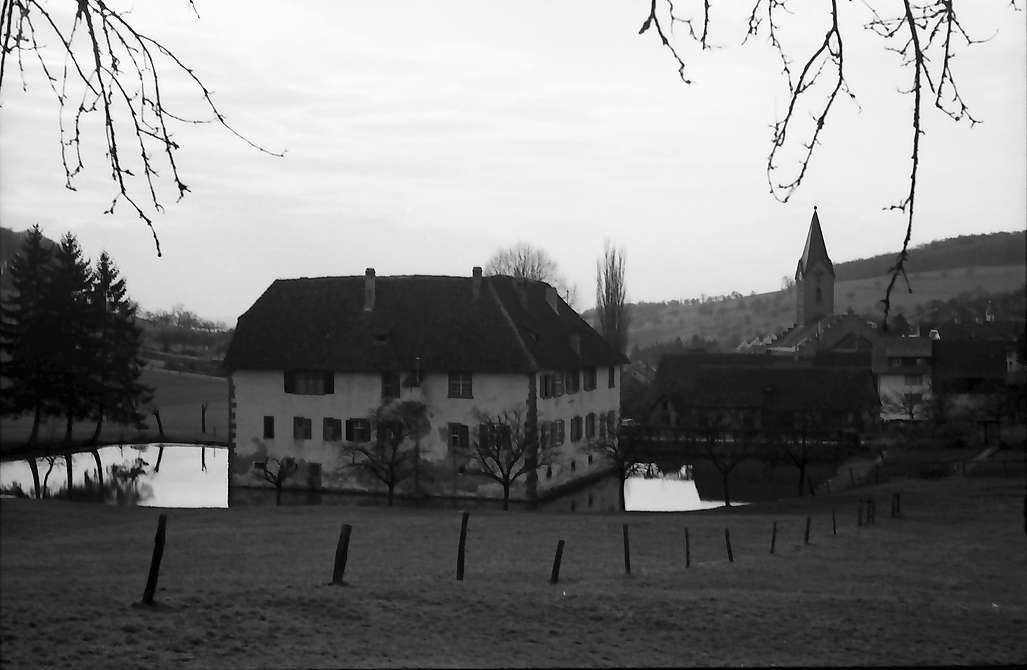 Inzlingen: Wasserschloss, von oben, von Osten, Bild 1