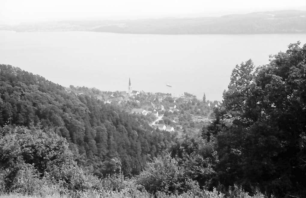 Überlingen, Haldenhof: Blick von oben auf Sipplingen, Bild 1