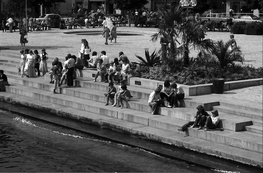 Überlingen: Anlegeplatz mit Treppe und Schwänen, Bild 1