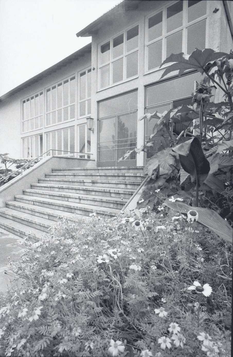 Gernsbach: 1. Papiermacherschule in der Gewerbeschule; Außenansicht, Treppe am Eingang und Blumen, Bild 1