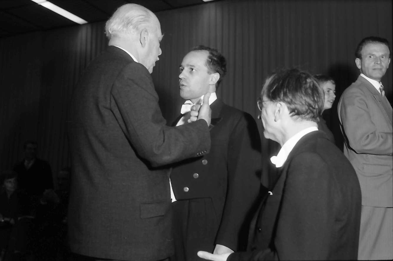 Donaueschingen: Donaueschinger Musiktage; Prinz Max, Pierre Boulez und Hans Rosbaud, Bild 1