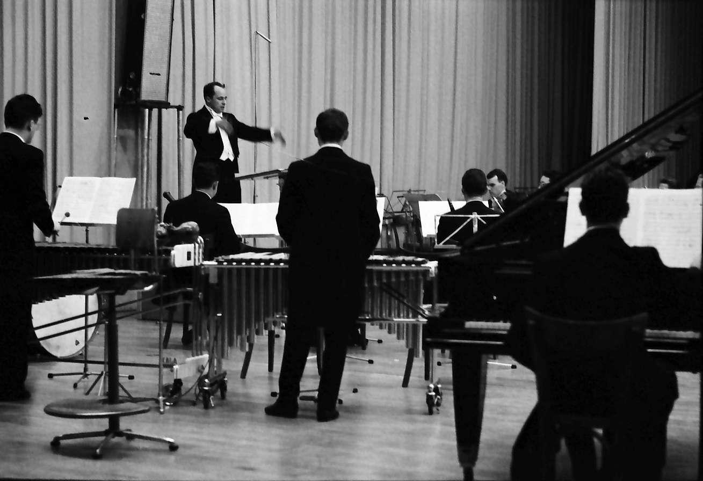 Donaueschingen: Donaueschinger Musiktage; Henry Pousseur; Orchester auf der Bühne mit Rücken zum Publikum, Bild 1