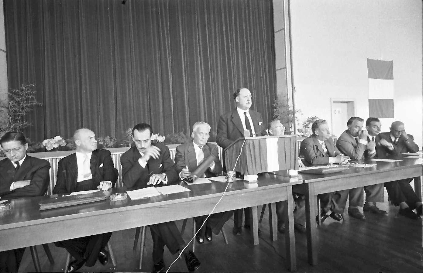 Breisach: zweites Bürgermeistertreffen; ganzer Präsidiumstisch, Bild 1