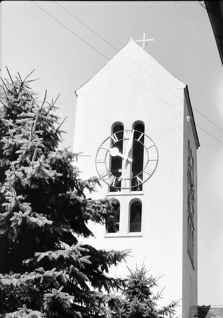 Neuenburg: Kirchturm mit Tanne, groß, Bild 1
