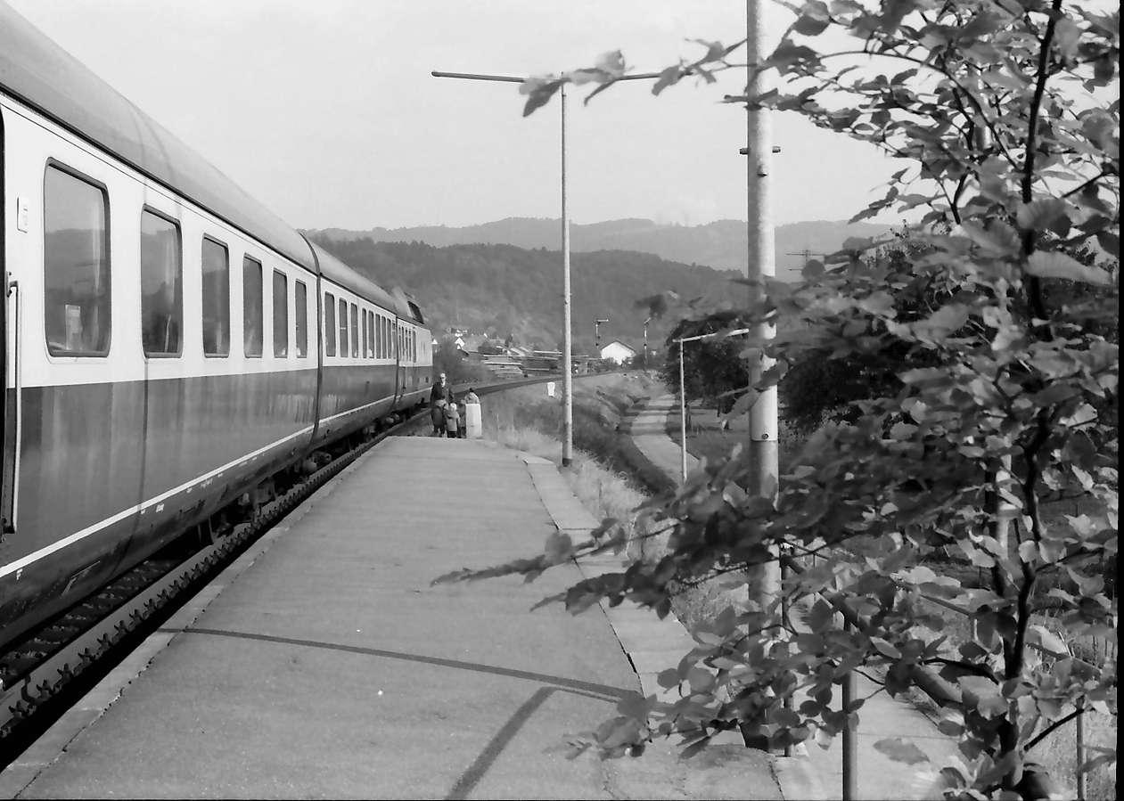 Rheinfelden: Zug im Bahnhof mit Landschaft Hotzenwald, Bild 1