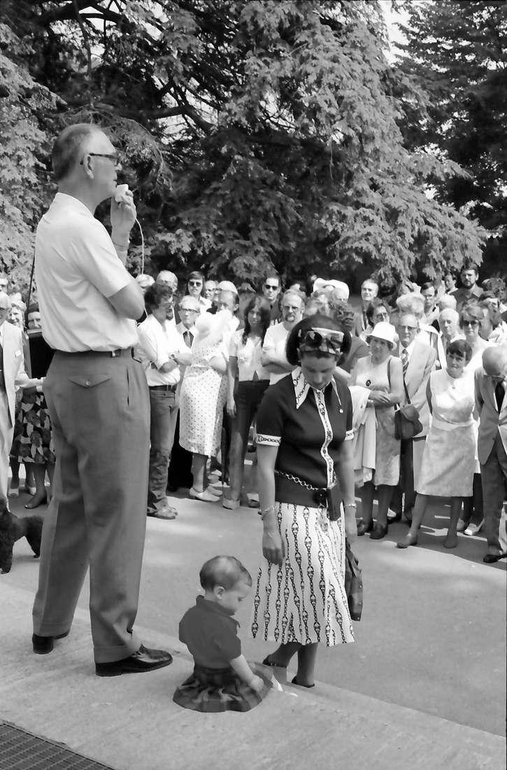 25. Jubiläumstagung 1975 Medizin; Meersburg: Graf Lennart Bernadotte, Tochter Bettina, Gräfin Sonja Bernadotte, Bild 1