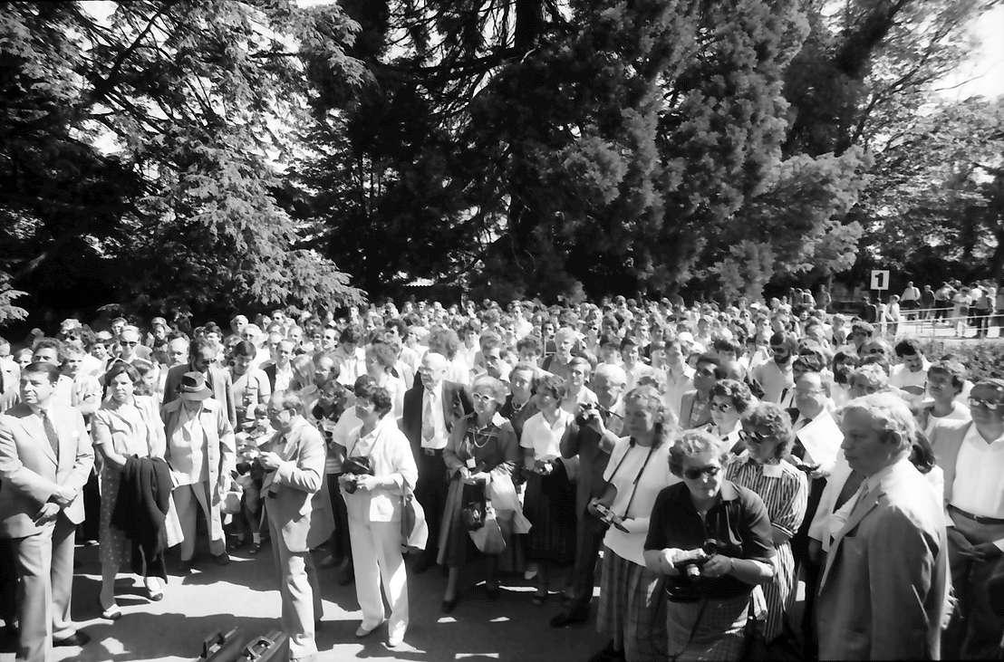 32. Tagung 1982 Physiker; Mainau: Blick über die Menschenmenge: mittig Ehepaar Brattain, Bild 1