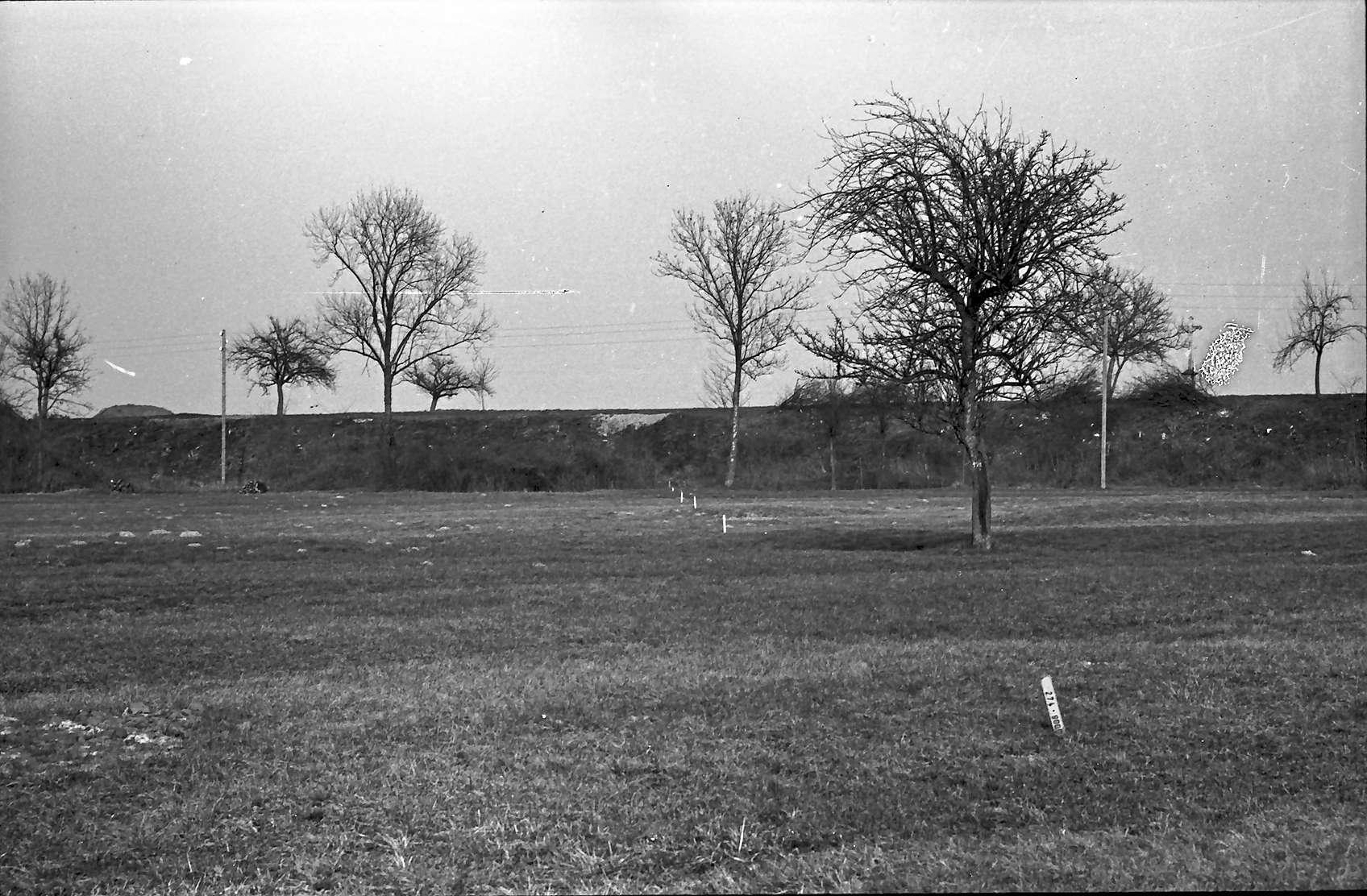 Hartheim: Stelle der späteren Straßenüberführung; in der Achse der Trasse; von Südwesten, Bild 1