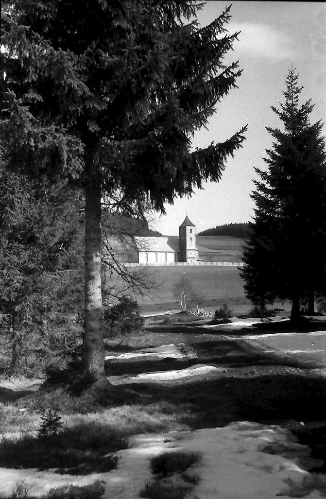 Breitnau: Durchblick auf die Kirche vom unteren Wald heraus, Bild 1