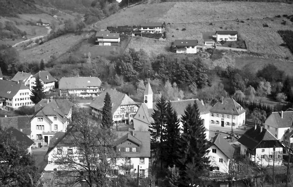 Oberprechtal: Von der Höhe auf Ort mit Kirche, Bild 1