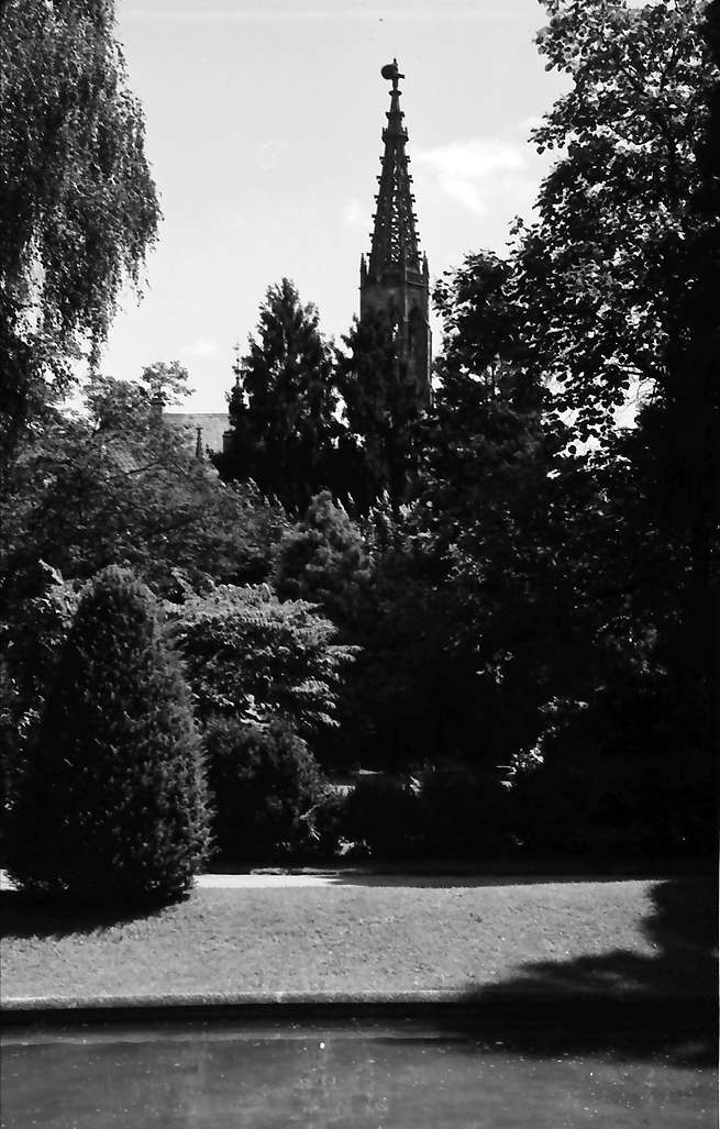 Bühl: Park mit Springbrunnen; mit Kirchturm (Stadtkirche), Bild 1