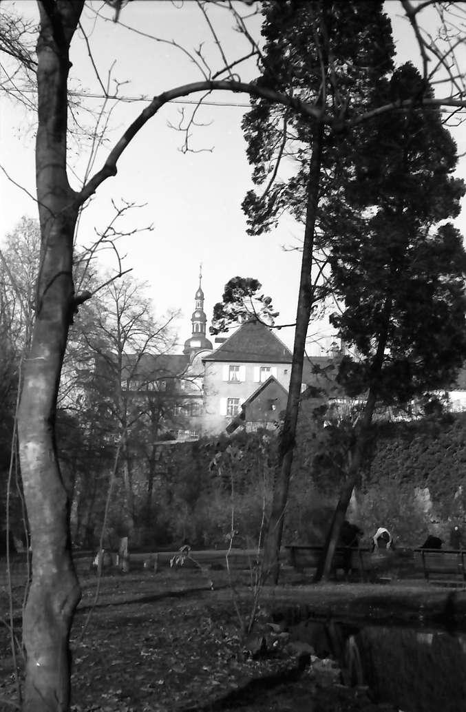 Kehl: Schloss vom Stadtgraben und Rheinbrücke; Vordergrund Park, Bild 1