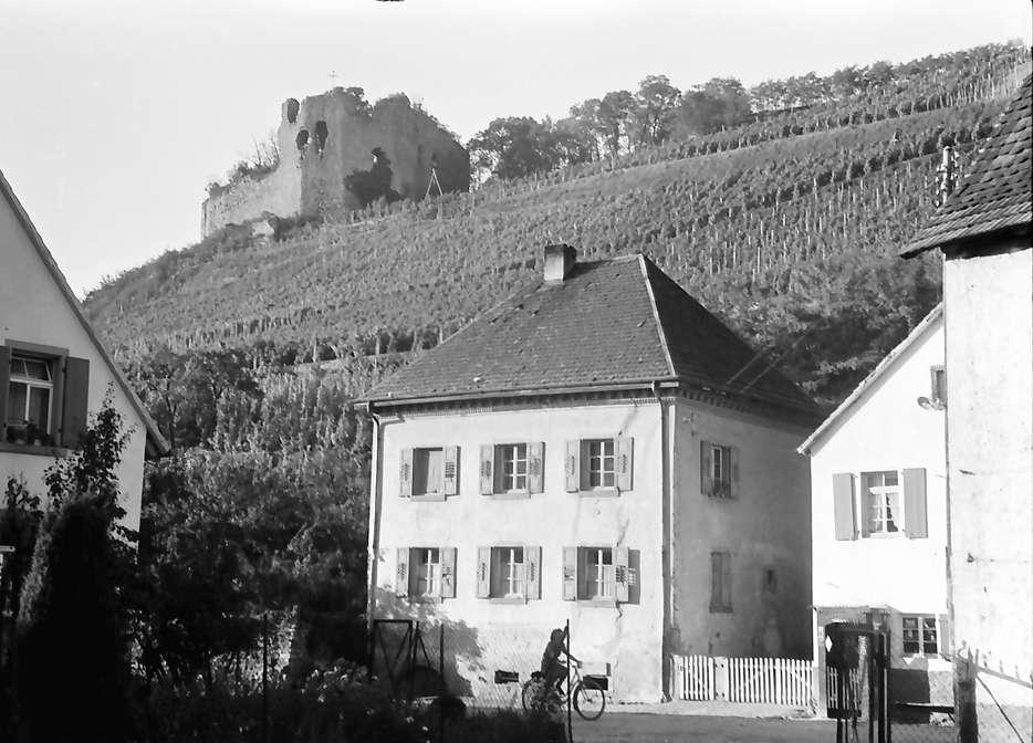 Hecklingen: Burg Lichteneck bei Hecklingen; mit Häusern im Vordergrund, Bild 1