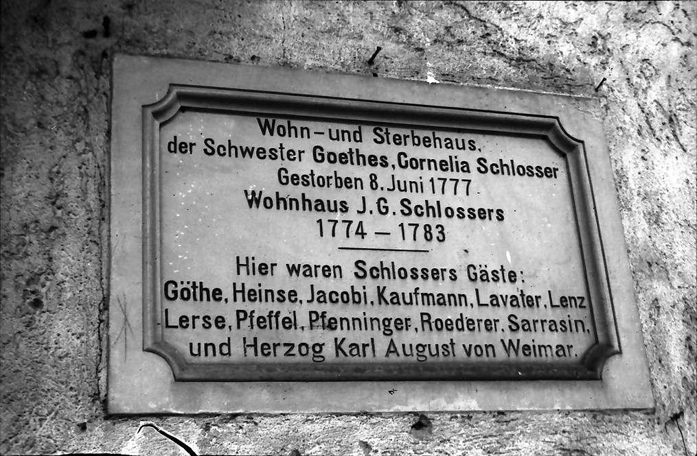 Emmendingen: Wohnhaus und Sterbehaus der Schwester Goethes Cornelia Schlosser; Tafel, Bild 1