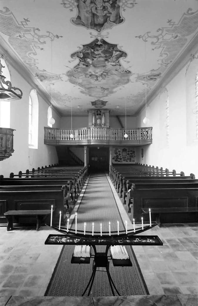 Herbolzheim: Wallfahrtskirche Maria Sand; Innenansicht Empore und Orgel, Bild 1
