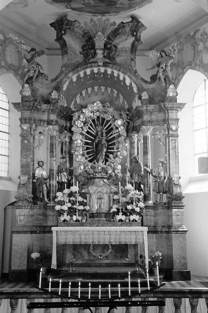 Herbolzheim: Wallfahrtskirche Maria Sand; Altar mit Marienbild, Bild 1
