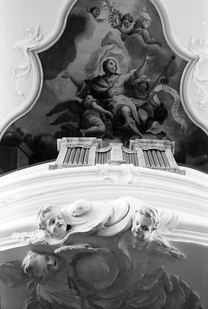 Herbolzheim: Renovierte Pfarrkirche; Putten an der Empore und Deckengemälde, Bild 1