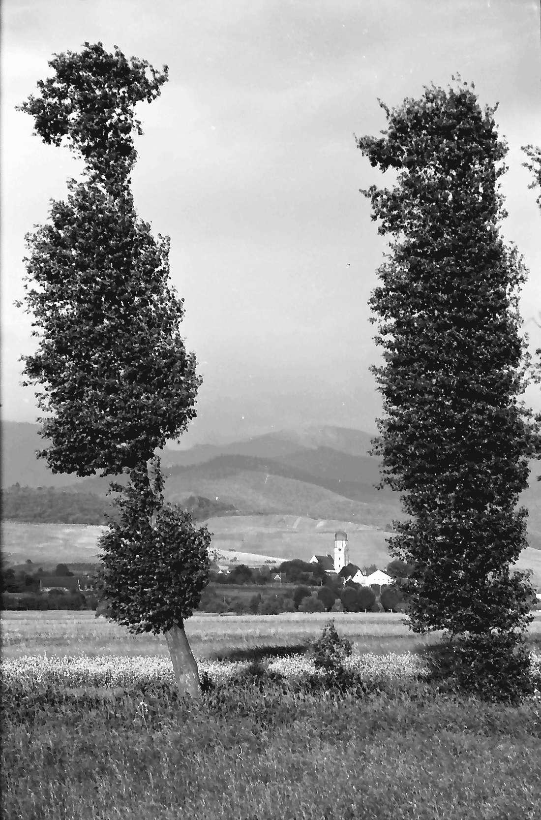 Norsingen: Gewitterbeleuchtung an der Möhlin; Blick auf Kirchhofen; bei Norsingen, Bild 2
