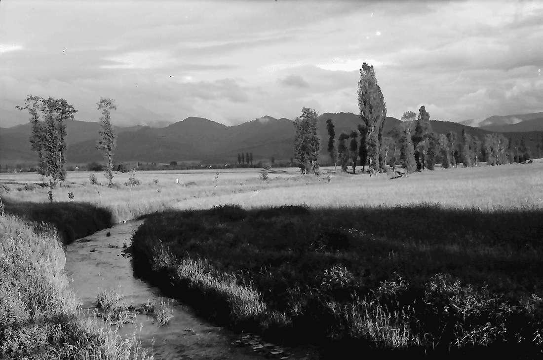 Norsingen: Gewitterbeleuchtung an der Möhlin; Blick auf Kirchhofen; mit Möhlin im Vordergrund, Bild 2
