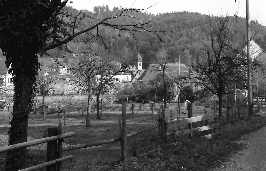 Ebnet: Aus Gartenweg Richtung Kirche, Bild 1
