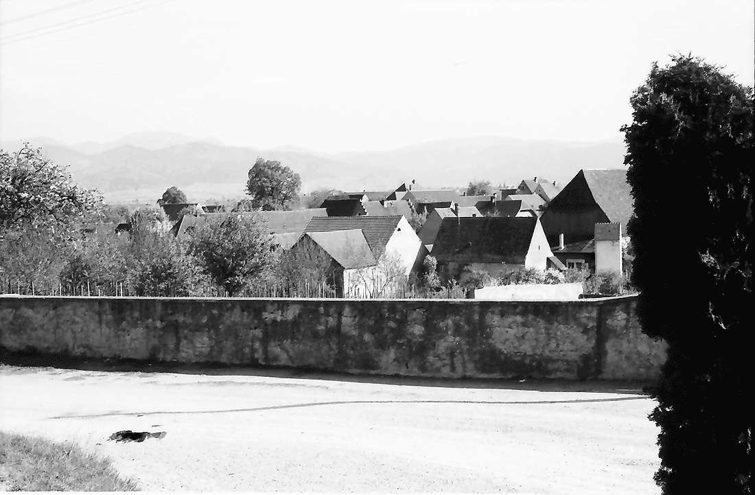 Biengen: Blick über die Mauer auf den Ort, Bild 1