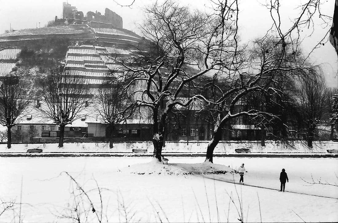 Staufen: Zugefrorener Teich am Bahnhof mit Burg, Bild 1