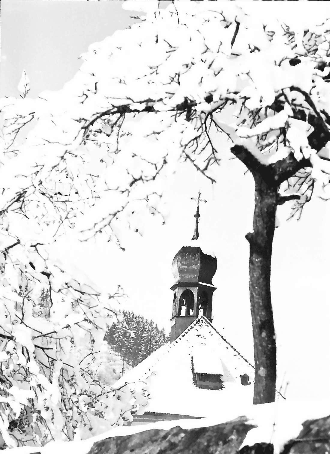 Oberried: Klostertürmchen hinter verschneitem Bäumchen, Bild 1