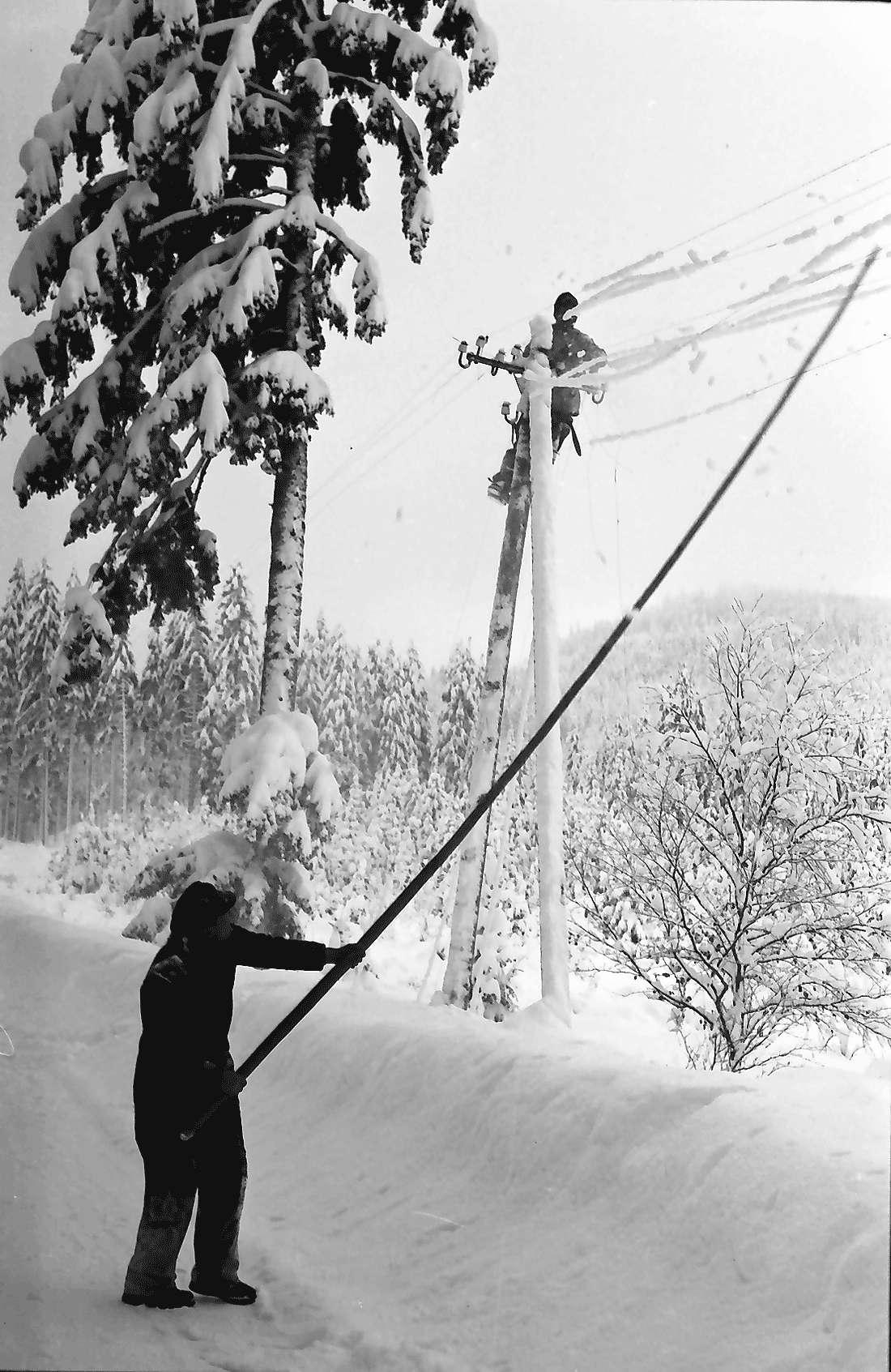 St. Blasien - Todtmoos: Straße; Bautrupp beseitigt Schneeschäden an Telefonleitungen; Entfernen des Eises mit Stange von Telefondrähten, Bild 1