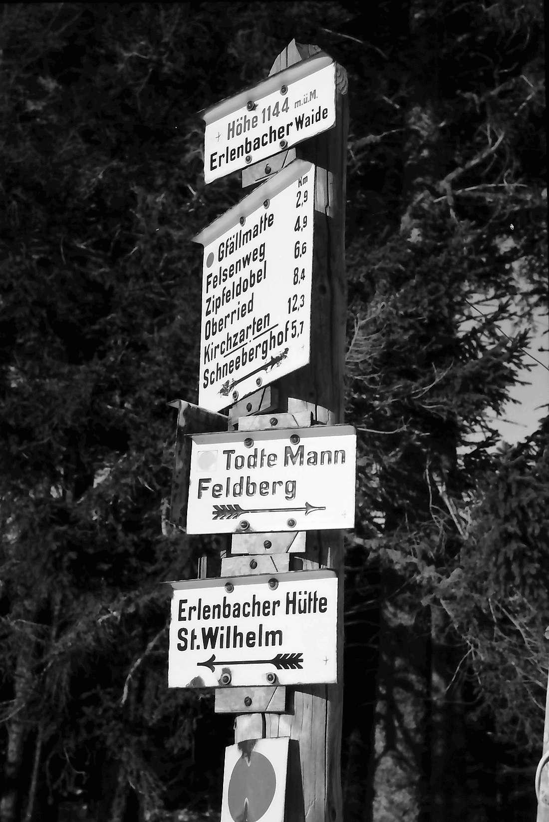 Oberried: Stollenbacher Hütte; Wegweiser auf der Erlenbacher Waide; 1144 m, Bild 1
