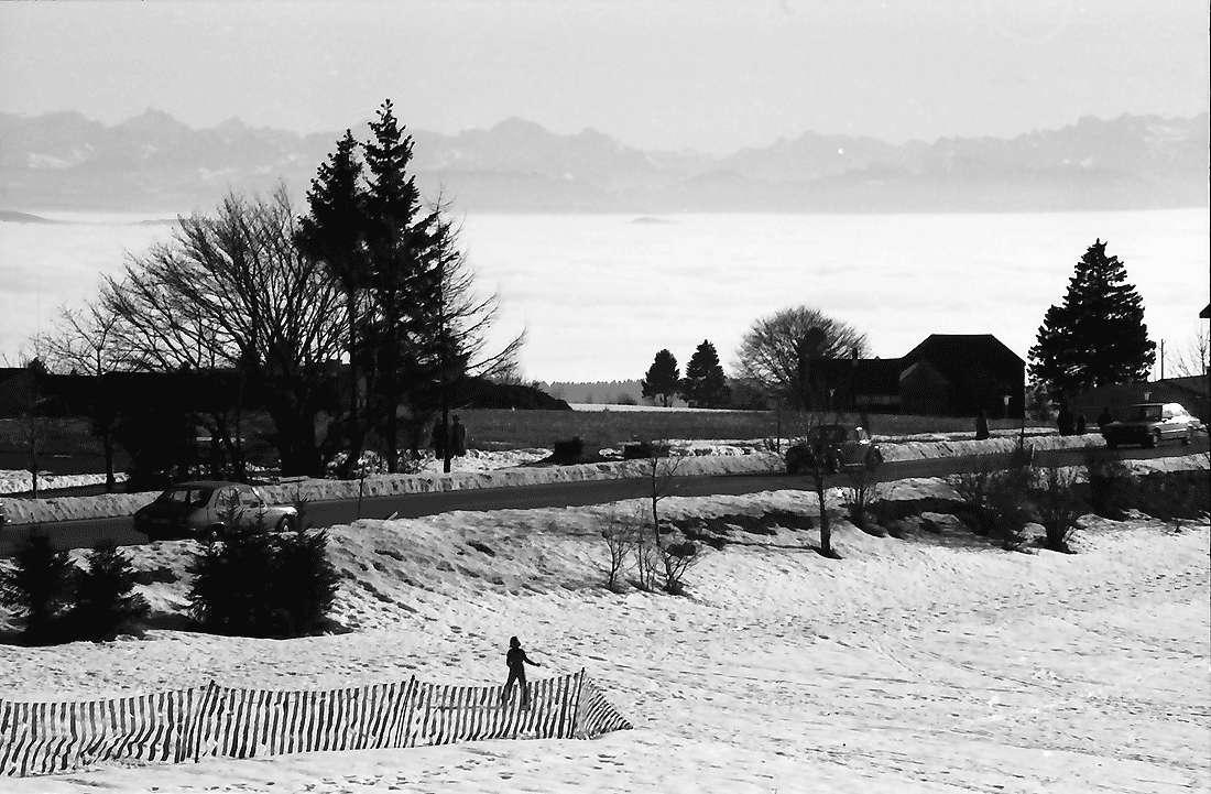 Höchenschwand: Von der Sonnenterrasse über den Ort auf das Nebelmeer mit Alpensicht; Ost, Bild 2