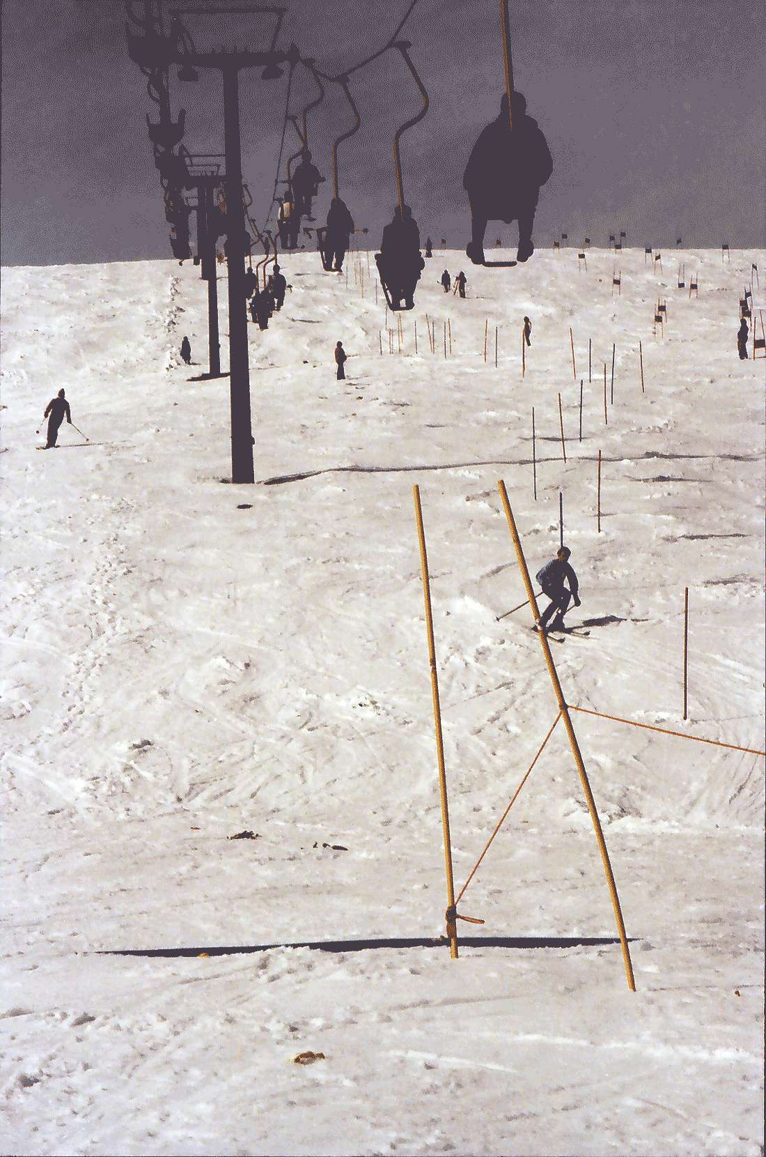 Feldberg: Skilift Feldberg; kleiner Lift; darunter Abfahrtsläufer, Bild 1