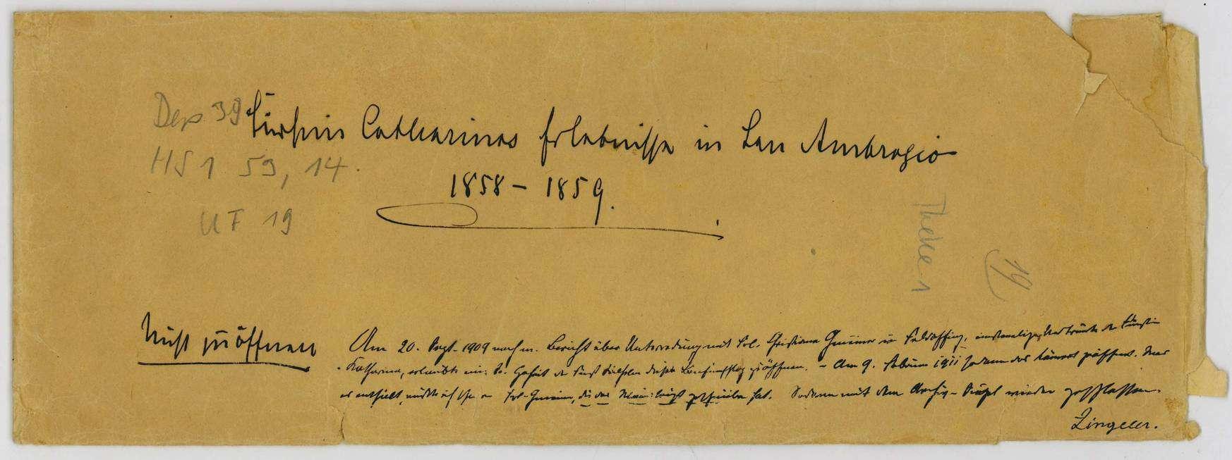 Erlebnisse der Fürstin Katharina von Hohenzollern-Sigmaringen in Sant´Ambrogio zu Rom, 1858-1859, notiert von Christiane Gmeiner 1870, Bild 1