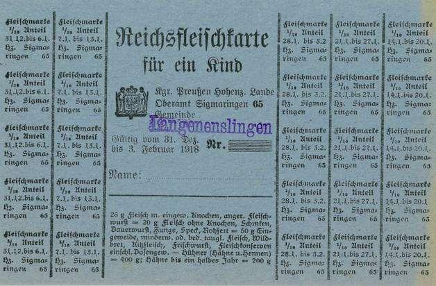 Lebensmittelkarten aus dem Ersten Weltkrieg, Bild 1