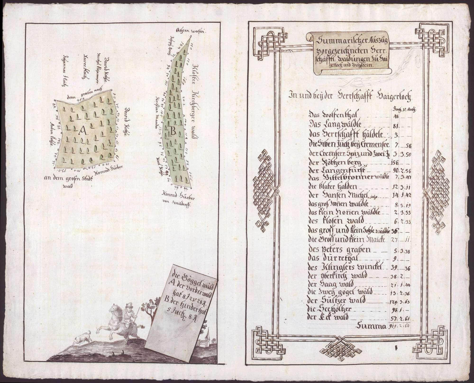 Grundrisse der herrschaftlich [Hohenzollern-] Sigmaringischen Waldungen in den Herrschaften Haigerloch und Wehrstein, Bild 1
