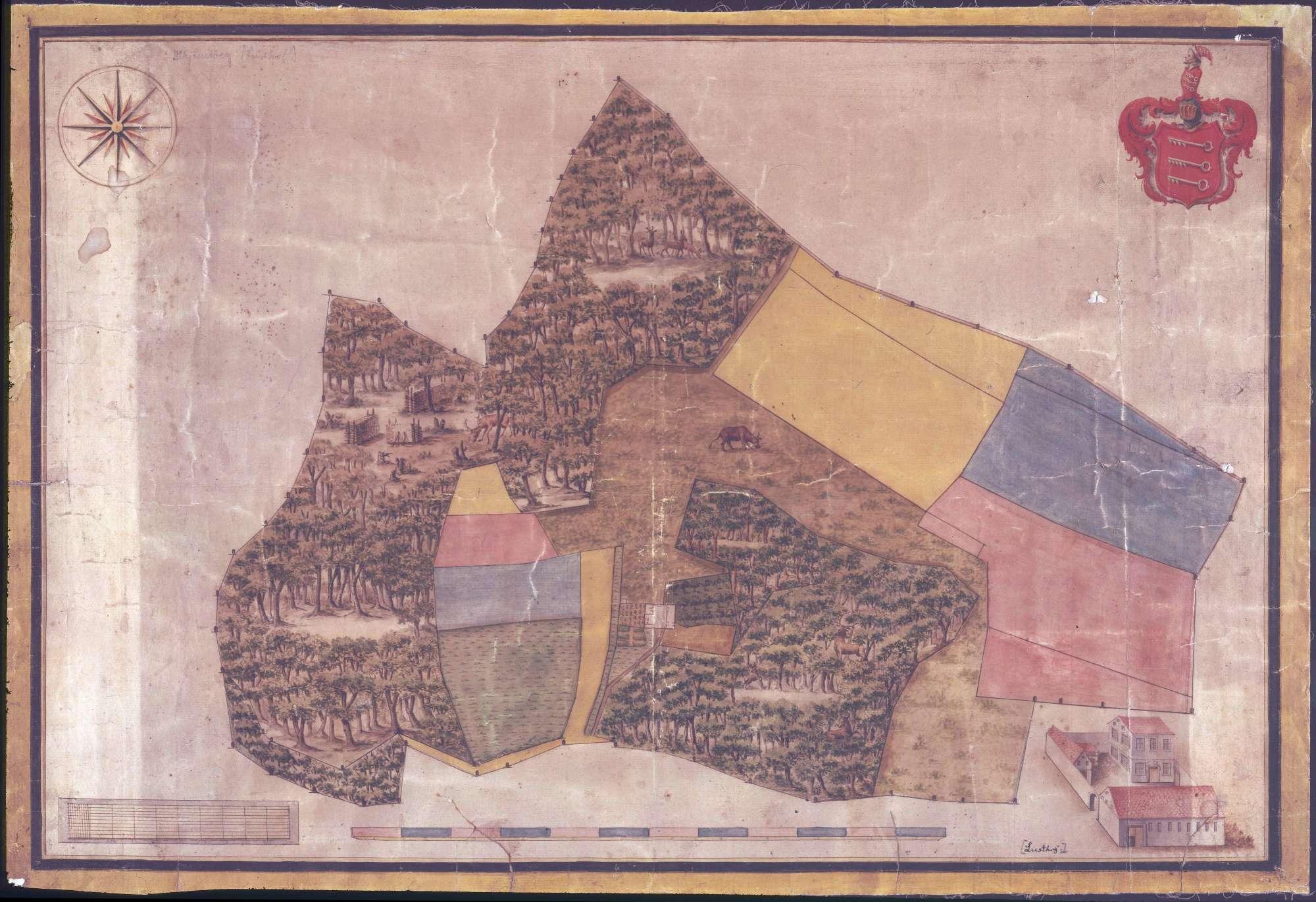 Karte des früher den Freiherren von Speth zugehörigen, seit 1827 Fürstl[ich] Hohenzollerischen Kameralhofes Lusthof bei Kettenacker, Bild 1