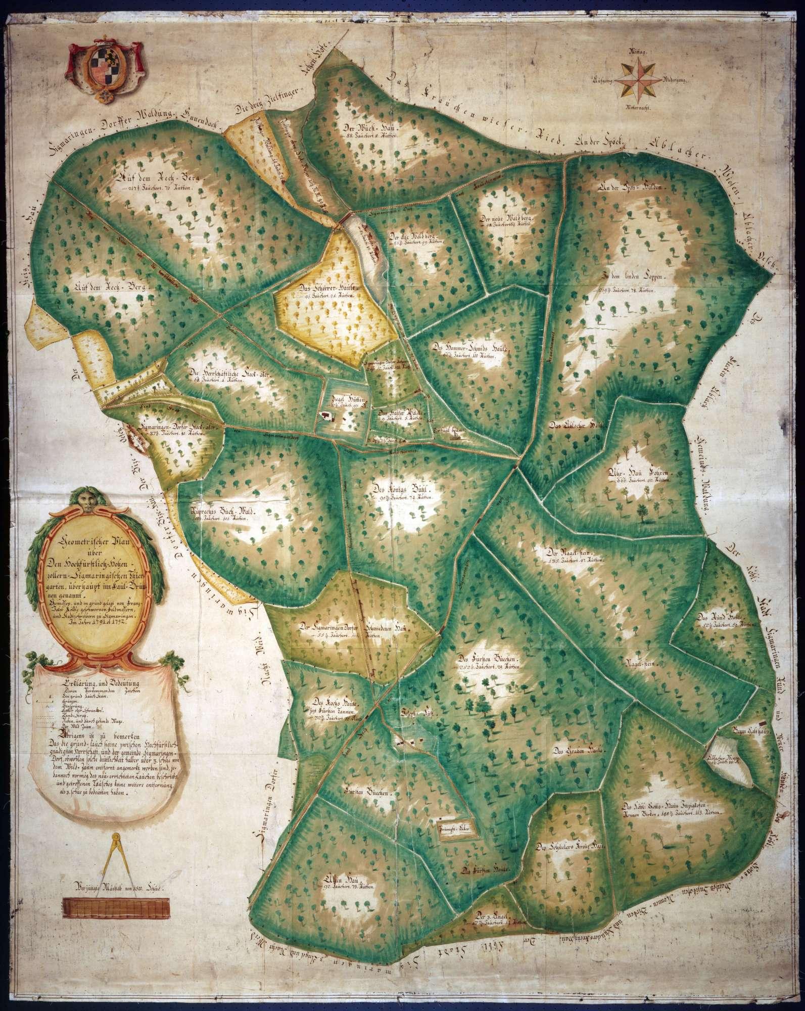 Geometrischer Plan über den hochfürstlich Hohenzollern-Sigmaringischen Thiergarten überhaupt, im Faulbronnen genannt [heute Josefslust], Bild 1