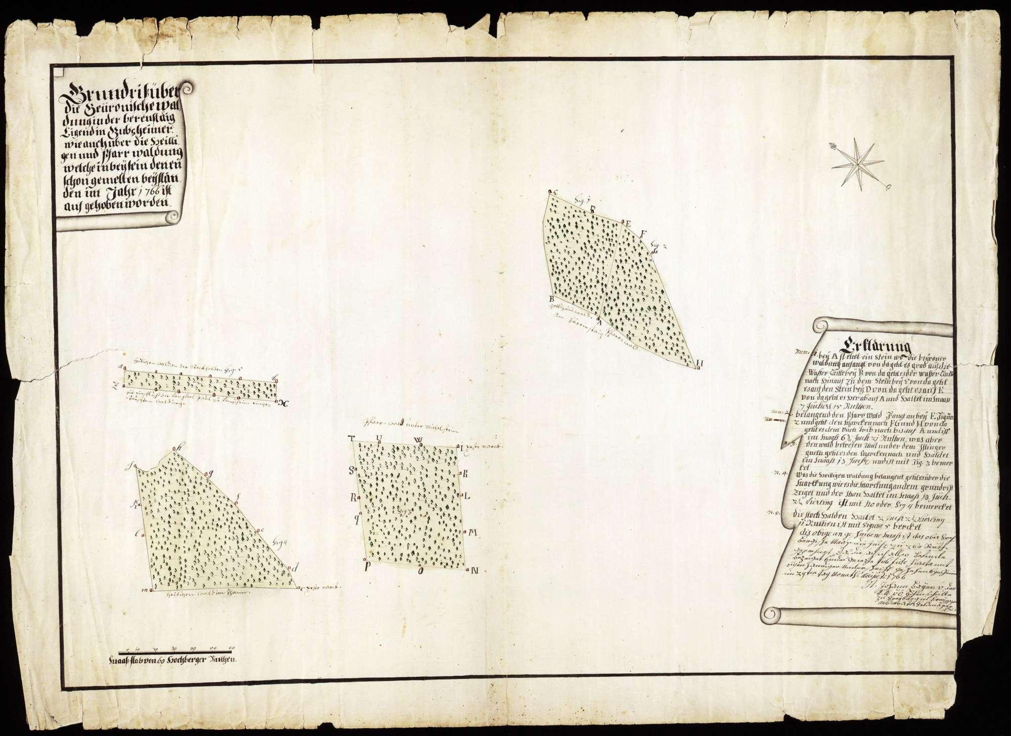 """Grundriss über die Beuronische Waldung """"In der Bärensteig"""" liegend im Bubsheimer Wald wie auch über die Heiligen- und Pfarrwaldung, Bild 1"""