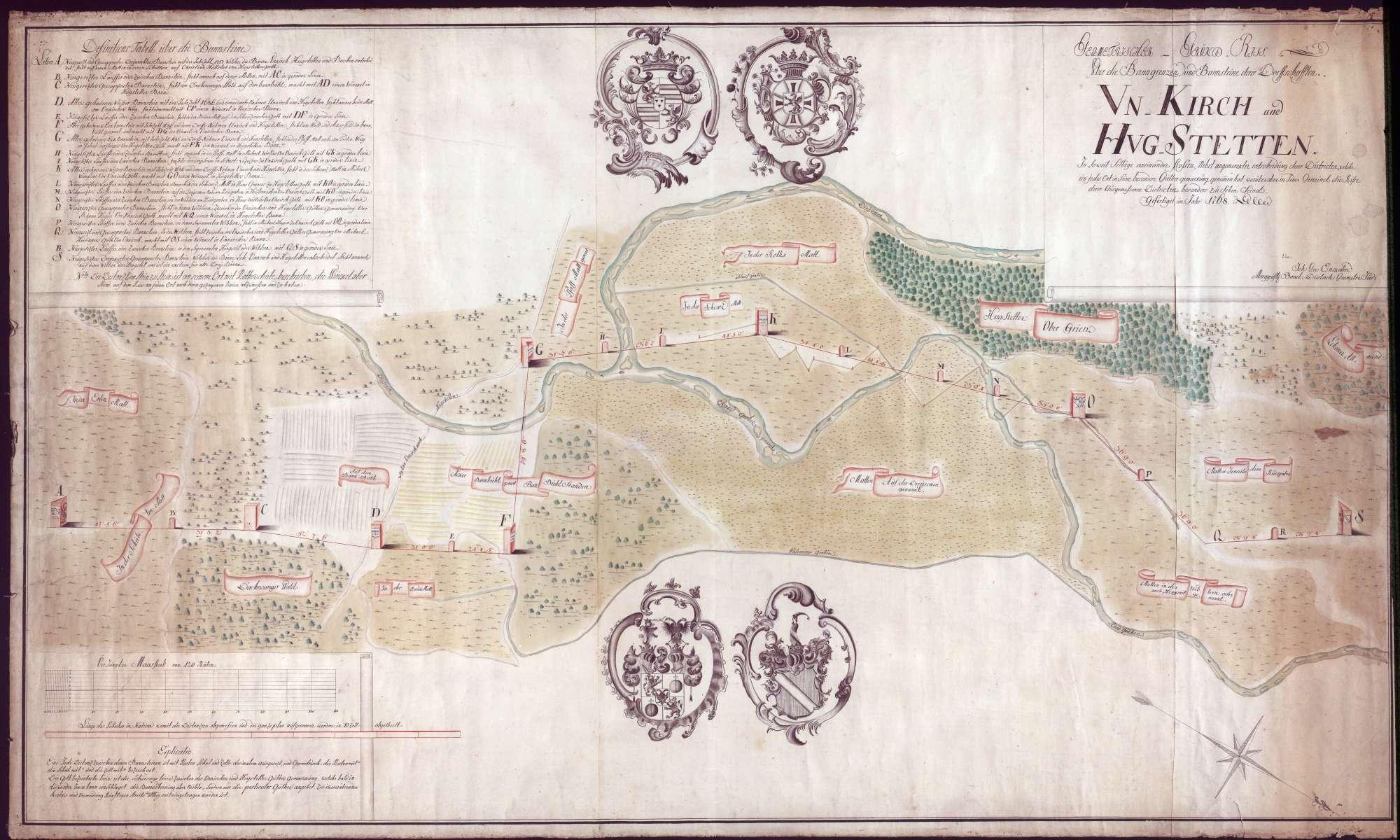 Geometrischer Grundriss über die Banngrenzen und Bannsteine der Dorfschaften Umkirch und Hugstetten, Bild 1